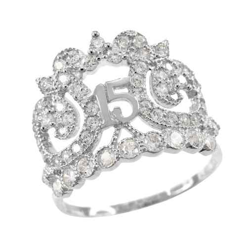 White Gold Crown 15 Anos CZ Ring