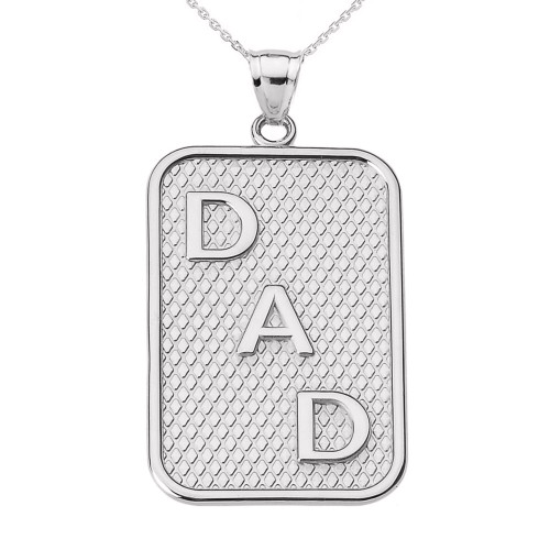 """White Gold """"DAD"""" Pendant Necklace"""