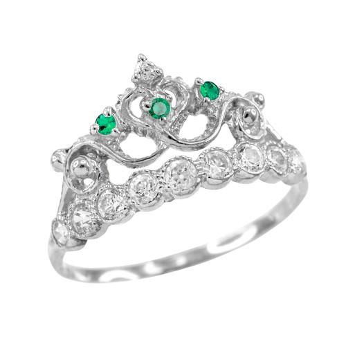 Green CZ White Gold Crown Ring