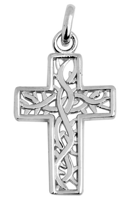Celtic Gaelic Vine White Gold Cross Pendant