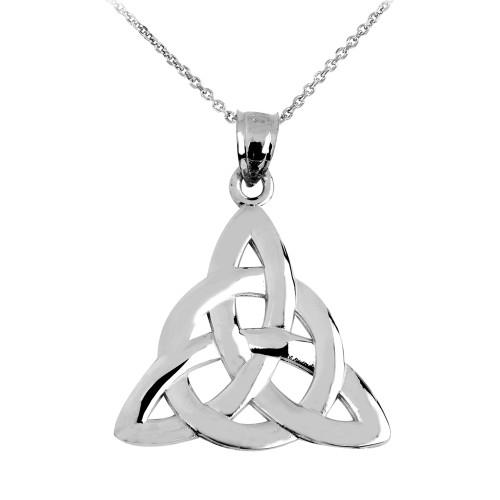 White Gold Celtic Trinity Pendant Necklace