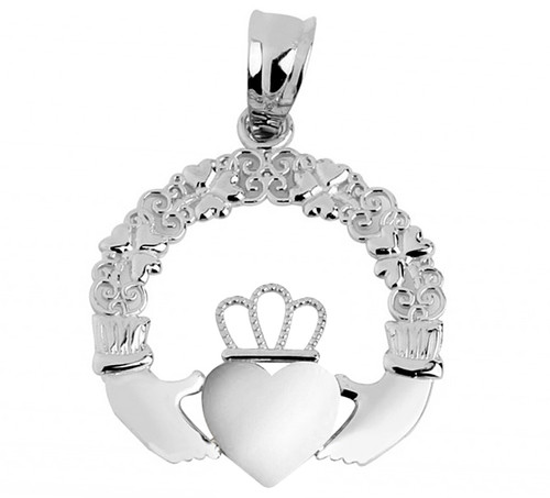 Claddagh Pendant White Pink Gold