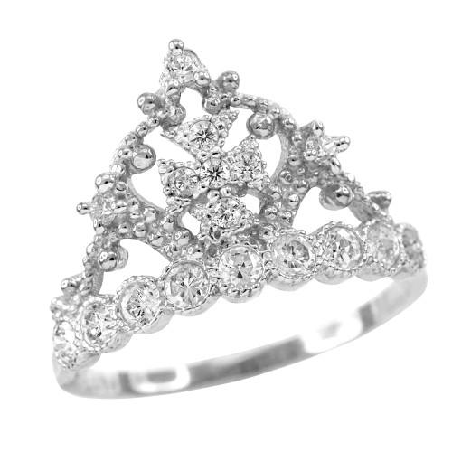 White Gold Crown Cross CZ Ring
