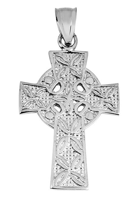 White Gold Celtic Cross Irish Pendant