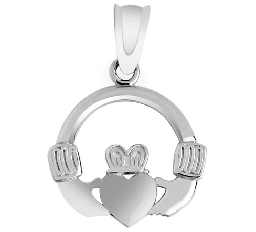 Claddagh Pendant in Solid White Gold from CladdaghGold.com - image