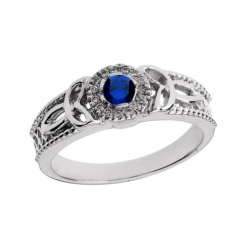 elegant white gold diamond and sapphire heart trinity knot engagement proposal ring