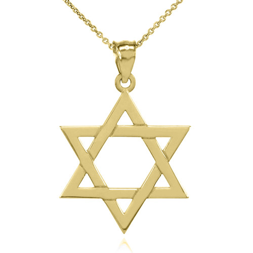 Solid Yellow Gold Jewish Star of David Pendant Necklace (Medium)