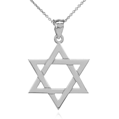 Solid White Gold Jewish Star of David Pendant Necklace (Medium)
