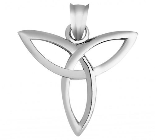 Classic Gaelic Trinity Pendant in White Gold