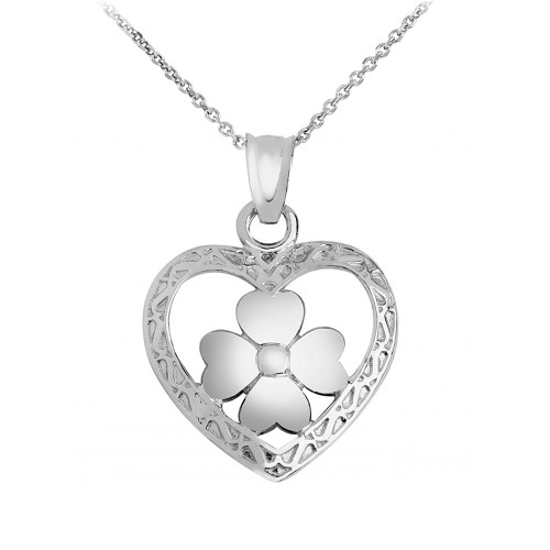 Silver Heart Clover Pendant Necklace