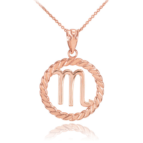 Details about  /14K Solid Gold Gemini Zodiac Sign in Circle Rope Pendant Necklace