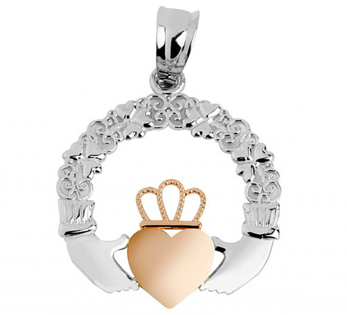 Gold Claddagh Pendant with Shamrocks and Rose Gold Heart at CladdaghGold.com