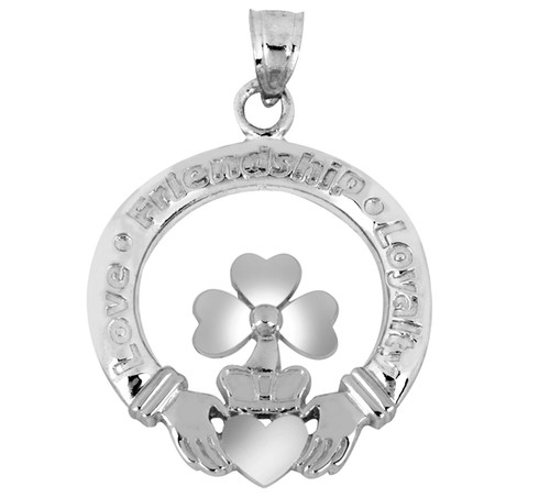 Claddagh Pendant with Clover Leaf in White Gold at CladdaghGold.com
