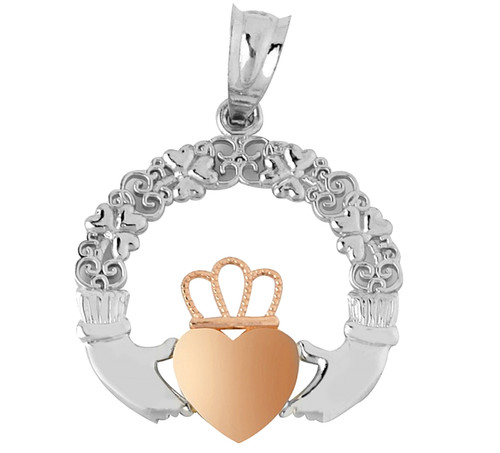 White Gold Claddagh Pendant with Rose Gold Heart