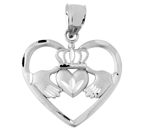White Gold Claddagh Pendant in Heart of Gold