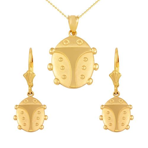 14K Yellow Gold Lucky Ladybug Pendant Necklace Earring Set
