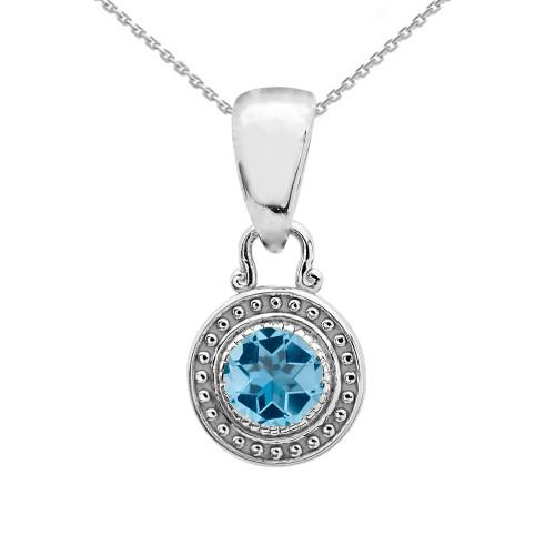 Solitaire Blue Topaz White Gold Pendant Necklace