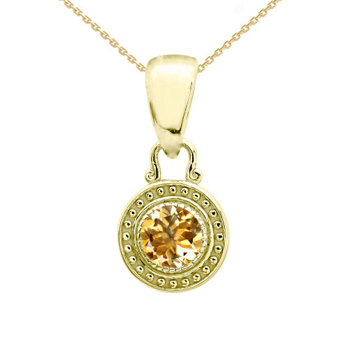 Solitaire Citrine Yellow Gold Pendant Necklace