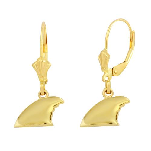 14K Yellow Gold Shark Fin Earring Set