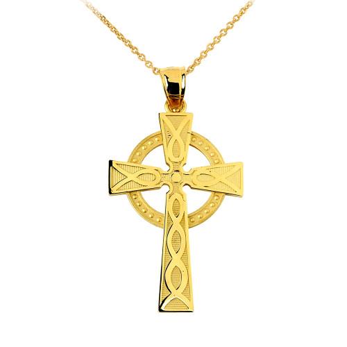Yellow Gold Celtic Cross Charm Pendant Necklace