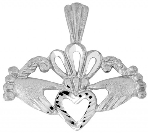 Claddagh White Gold Pendant with Diamond Cut Heart