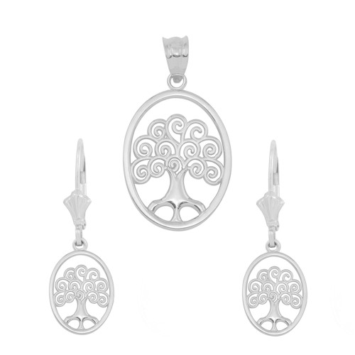 3d09cd13e Sterling Silver Tree of Life Filigree Swirl Celtic Pendant Necklace Earring  Set