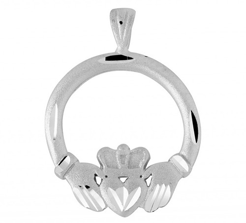 White Gold Claddagh Gold Diamond Cut Pendant