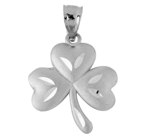 Clover Celtic Pendant In White Gold