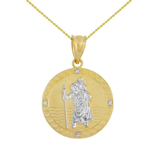 "Solid Yellow Two Tone Gold Saint Christopher Medallion Circle Diamond Pendant Necklace ( 1"")"