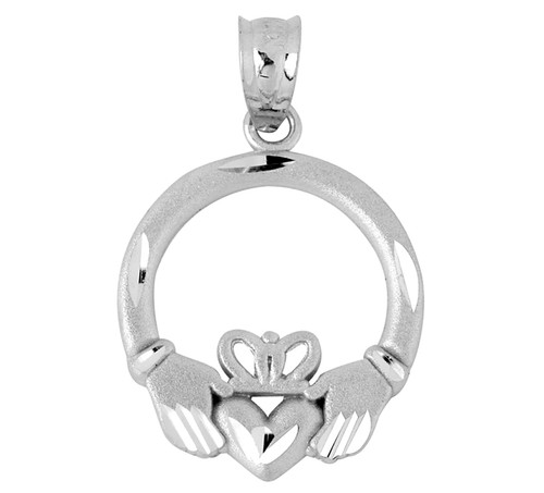 White Gold Claddagh Pendant with Diamond Cut Accents