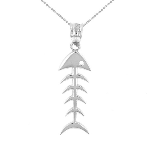 White Gold Fish Bone Skeleton Pendant Necklace