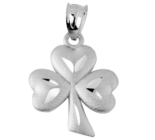 Gold Celtic Pendant - The White Gold Clover Leaf