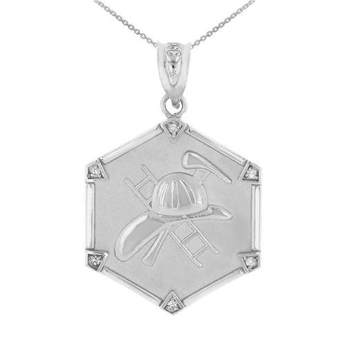 White Gold Firefighter Hexagon Diamond Pendant Necklace