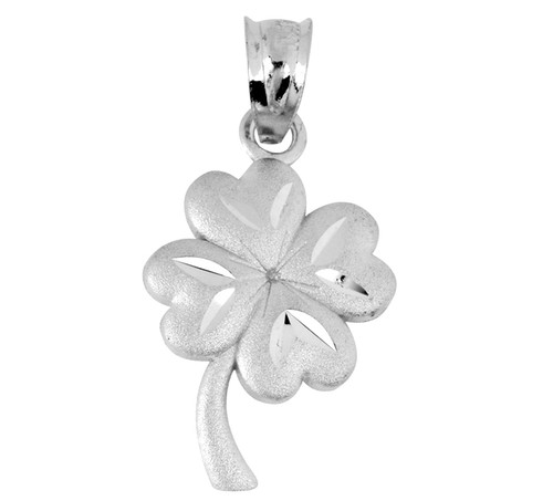Celtic White Gold Pendant - The Lucky Clover Leaf Charm
