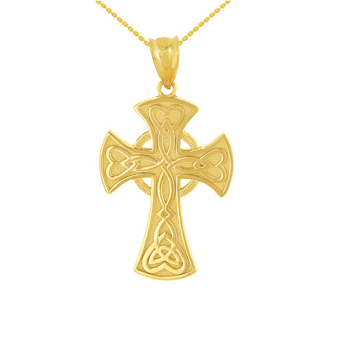 Solid Yellow Gold Celtic Knot Halo Cross Woven Hearts Pendant Necklace