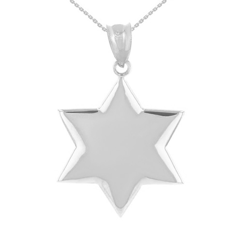 Solid White Gold Star Pendant Necklace