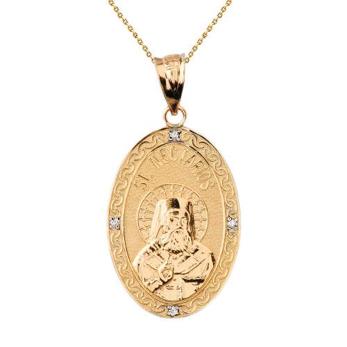 "Solid Yellow Gold Greek Orthodox Saint Nectarios of Aegina Engravable Diamond Medallion Oval Pendant Necklace  1.18"" (29 mm)"
