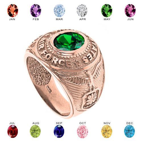 Solid Rose Gold United States Air Force Men's CZ Birthstone Ring