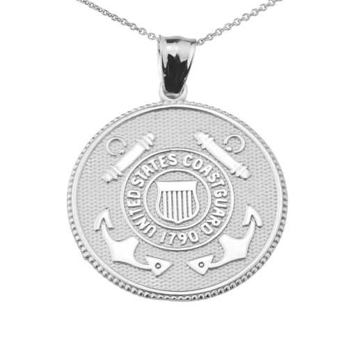 US Coast Guard Solid White Gold Coin Pendant Necklace