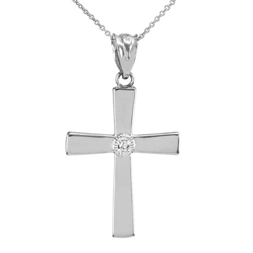 White Gold Cross with Diamond Pendant Necklace