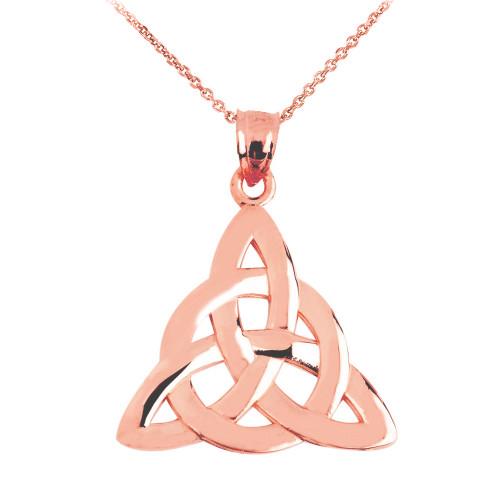 Rose Gold Celtic Trinity Pendant Necklace