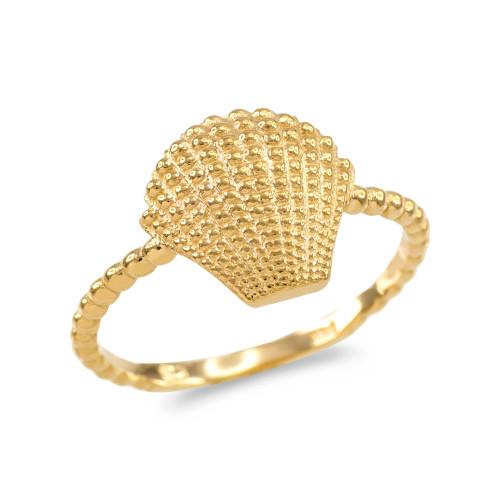 Fine 10k Yellow Gold Filigree Chevron Ring for Women
