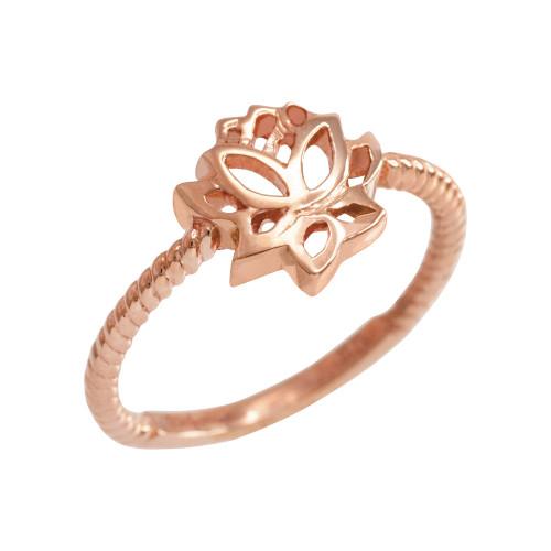 Rose Gold Beaded Lotus Flower Ring
