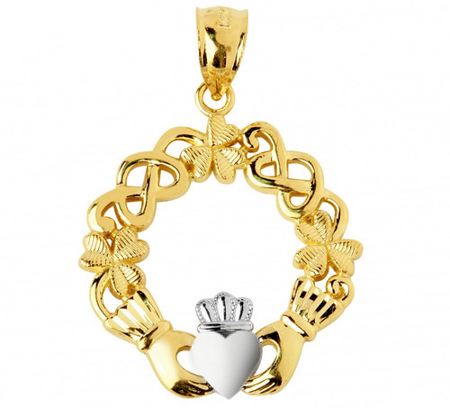 Yellow Gold Claddagh Two-Tone Pendant