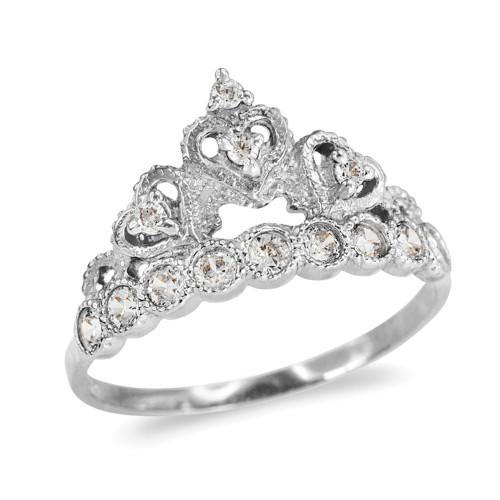 White Gold CZ  Princess Crown Ring