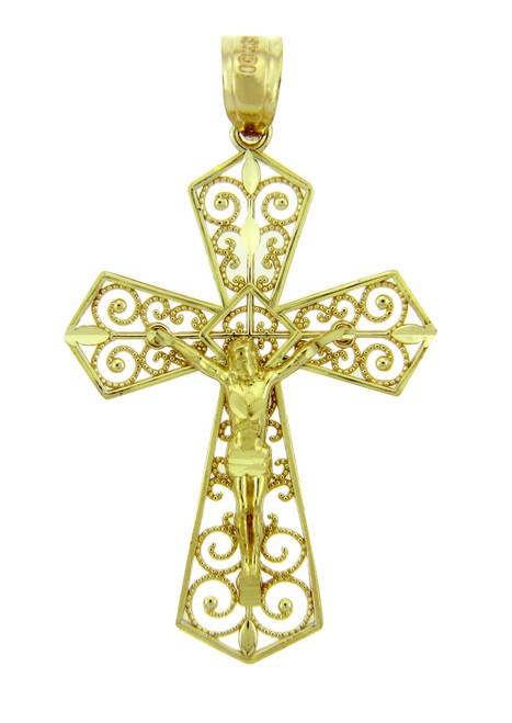Yellow Gold Crucifix Pendant - The Beloved Crucifix