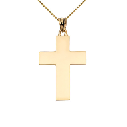 High Polish Elegant Cross Yellow Gold Pendant Necklace