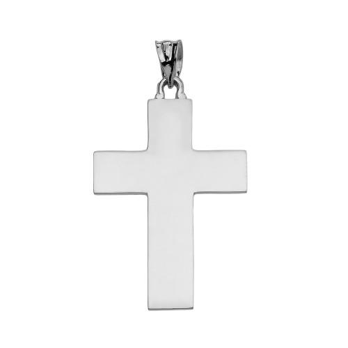 High Polish Elegant Cross White Gold Pendant Necklace
