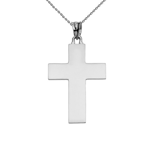 High Polish Elegant Cross White Gold Pendant Necklace