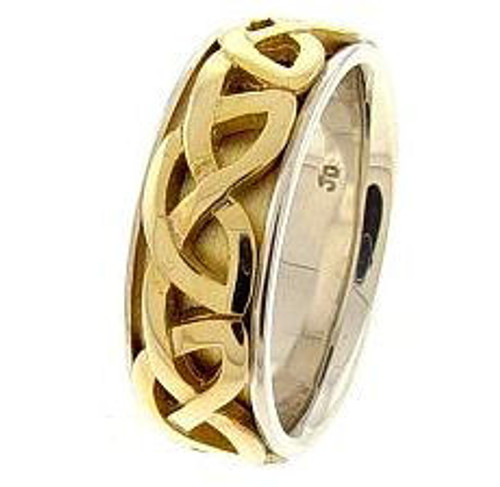 Celtic Knot Wedding Band - 14K Gold Two Tone Celtic Weave Ring